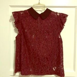 Forever 21 Lace top with Peter Pan collar Size S
